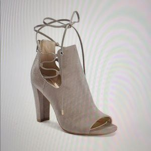 """SUGAR """"Kacy"""" Open Toe Lace-Up Gray Suede Bootie 7"""